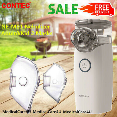 Mini Portable Travel Home 2 Masks Ultrasonic Nebulizer Inhaler Respirator Mesh