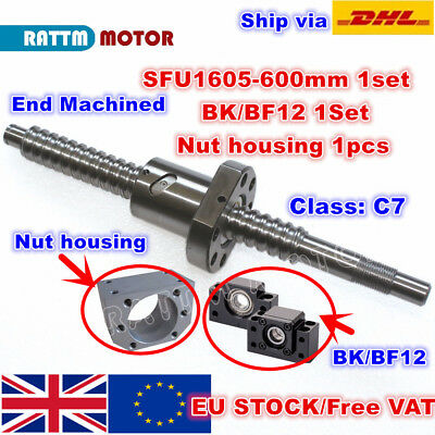 【UK】SFU1605 L600mm Ballscrew End Machined C7+Nut + BK/BF12 Support+Nut housing