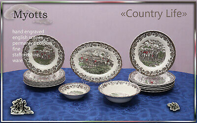 "Speiseservice 6 Pers. Myotts ""Country Life"" England  teller platte schale"