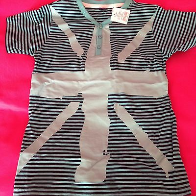 2 X Tops, Bnwt Boys Stripy Top Age 7 New With Tag Union Jack  & Red tu Top GC