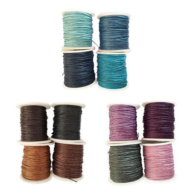 12pcs 1mm Waxed Cotton Cord Thread Rope for DIY Jewelry Necklace Bracelet