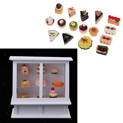 1/12 Dollhouse Miniatures Cake Cabinet with 25Pieces Cakes Dessert Groceries
