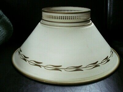Vintage Round METAL LAMPSHADE Table Lamp Ivory/Antique White Shade Lighting Tole