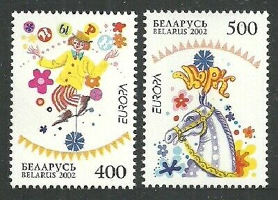 Belarus 2002 Europa Circus Clowns High Wire Cycling Jugglers Horses Set Mnh