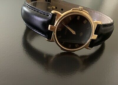 "6c419cbb7fc Gucci 3400m mens 7"" handsome gold-black watch wks great  274.99"