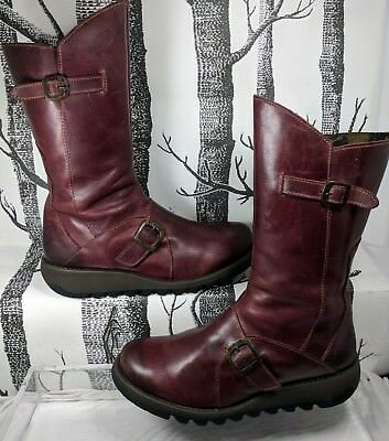 b932babf174514 Fly London MES 2 Brick Red Leather Mid Calf Wedge Zip Boot US 10 10.5 Light