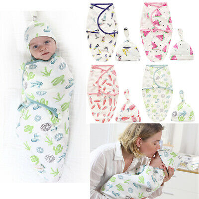 2pcs Set Newborn Baby Boy Girl Cocoon Swaddle Blanket Cotton Sleeping Wrap Hat