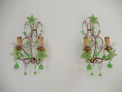 ~c 1920 French RARE Green OPALINE Crystal Swags Drops Sconces~