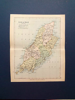 ISLE OF MAN MAP WITH RAILWAYS OLD BARTHOLOMEWS MAP DATE  1898   7inx 9in