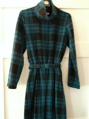 Vintage wool feel check tartan teal blue belted dress size 10 - 12