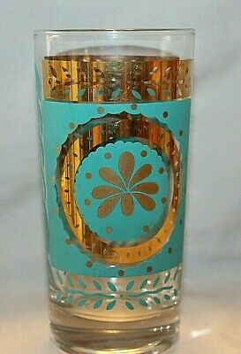 Turquoise and Gold Mid Century Highball Glass (Dominion?)