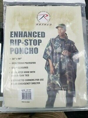 Army ROTHCO  ACU Digital Camo Rip-Stop Poncho  ONE SIZE FIT ALL