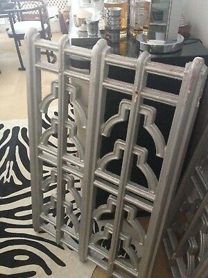 Pair 1920s 1930s Art Deco silver fretwork wall panels frieze from London cinema