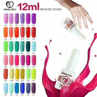 CHARM CHICA 12ml Colorful Neon Gel Nails Polish Soak Off UV/LED Varnish Manicure