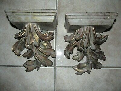 VINTAGE PAIR ORNATE ACANTHUS LEAFY WALL SHELVES ~ Hollywood Regency Style