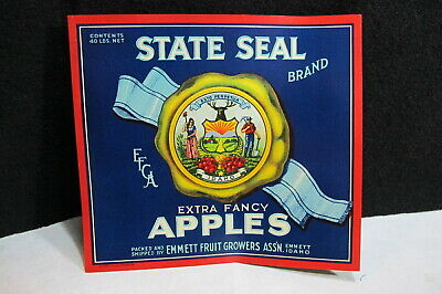 Vintage Crate Label Idaho State Seal Red Emmett 1930s Gold Miner Original