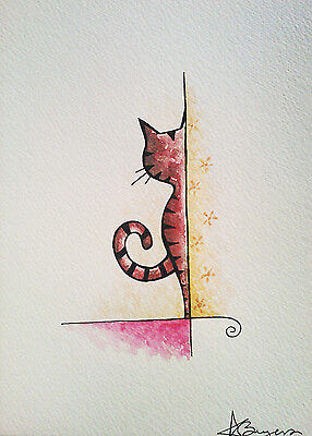 Small original watercolour & ink painting picture cute peeking ginger cat kitten