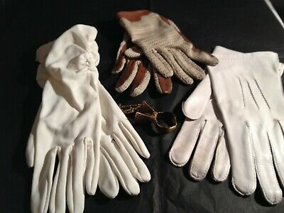 3 pairs vintage gloves  various styles driving gloves, ivory gloves, gloves clip