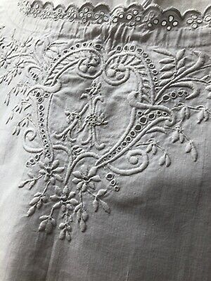 Rare antique French linen nightdress Beautfully Embroidered Monogram A Vintage