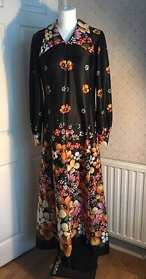 Vintage French 1970s Retro Flower Power Long Dress 10 12 Diolen Loft
