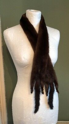 Vintage French 1950s Real Fur Mink Stoat Collar Scarf Stole