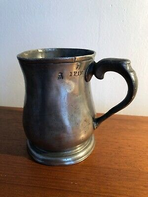 Antique Victorian Pewter Tankard Mug 1 Pint Crowned VR & 3 Lions in Shield Old
