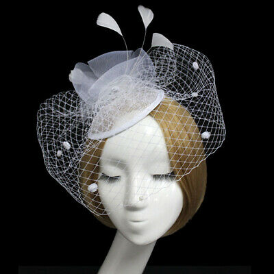 Ladies' Hair Clip Feather Fascinator Hat with Fish Net Face Veil White