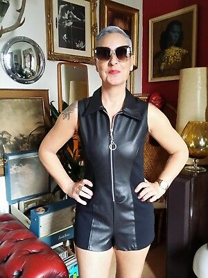 Vintage 1960s Style Gogo Psyche Playsuit Hot Pants Faux leather.Freakbeat.S 10