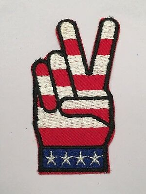 Vintage Peace Sign red white and blue sew on Patch  MINT