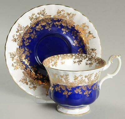Royal Albert Footed Cup & Saucer Regal Series Cobalt Blue W/ Gold Bone China
