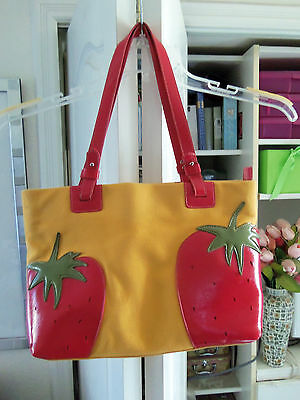 Adorable MX Fabric Tote w/Strawberry Applique