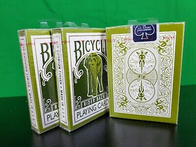 GREEN Bicycle Elephant 808 Tsunami Playing Cards Deck! Made in Ohio BLUE STICKER