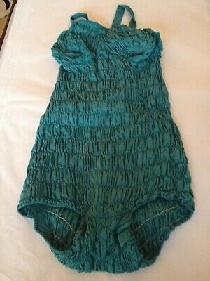 Vintage 1930-40s teal blue bathing suit swimming costume size 10 - 12