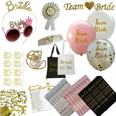 Team Bride Hen Party Night Do Bride To Be Sashes Veil Tiara Gold Accessories Lot