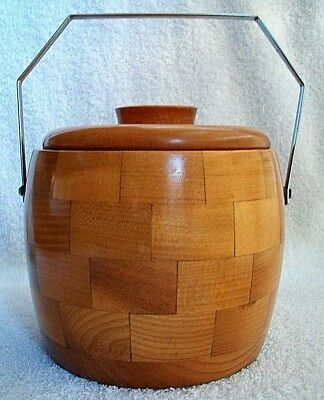 Ice Bucket.Turned Wood Block .Chromium Plated Handle . Lovely Condition