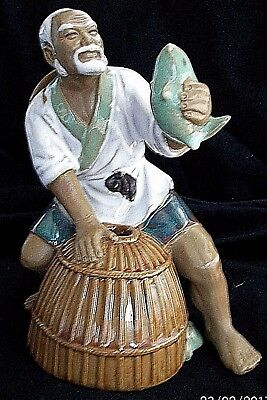 Chinese Mudman.Large.Fisherman .Creel. Stamped on Base.No Damage. 7 inches