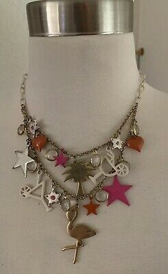 Rare Vintage BJ Betsey Johnson Flamingo Stars Palm Tree Heart Charms Necklace