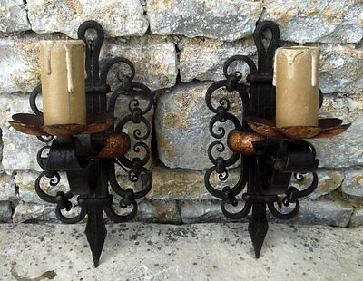 Vintage French Wrought Iron Wall Lights (pair) Medieval Style