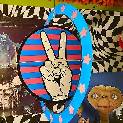 """DEADSTOCK Vintage 1960s 3D Big 16"""" Round! Love PEACE SIGN Hippie Commune Rings"""