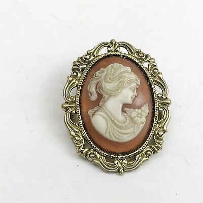 Vintage Cameo Victorian Style Costume Jewellery Clip On Scarf Ladies Brooch