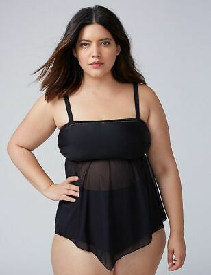 a67ce9ccb35d9 new cacique lane bryant sheer handkerchief mesh tankini swimsuit top 26w