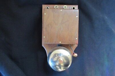 Antique Wood & Brass Electric Doorbell 4-6 volts (butlers maid door - Brass tack
