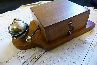 Unusual Wood & Brass Electric Sleigh Doorbell - 3-6 volts (butlers maid door)