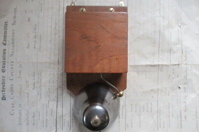 Art Deco Antique Wood, Steel & Brass Electric Doorbell 4-6 volts (butlers maid