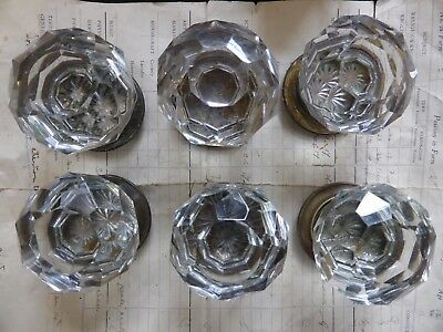 3 pairs Antique Cut Glass Door Knobs & Concealing Back Plates - Hart & Son Pitts