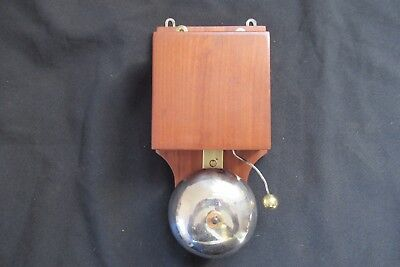 Art Deco Antique Wood, Steel & Brass Electric Doorbell 6-12 volts (butlers maid