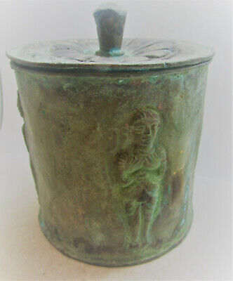 Circa 4Thcentury Bc Ancient Persian Bronze Canister With Male Figures All Around