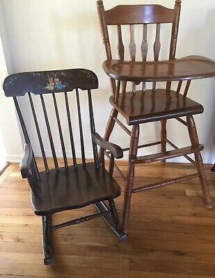 Vintage 1970s Wood Baby High Chair Removable Tray and Rocking Chair Mid century