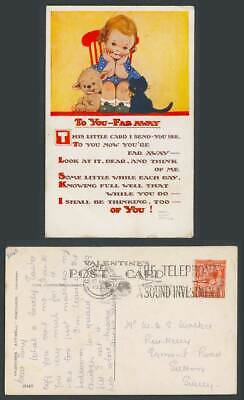 MABEL LUCIE ATTWELL 1932 Old Postcard To You Far Away, Black Cat Kitten Dog 2040