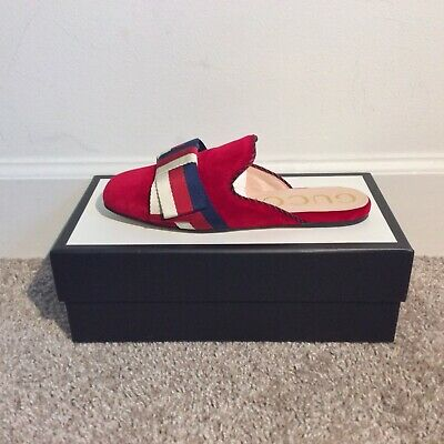 473ea45e8bc GUCCI VELVET SLIPPERS with Sylvie Bow Red -  450.00